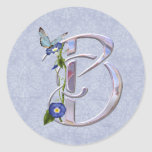 Precious Butterfly Initial B Round Sticker