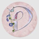 Precious Butterfly Initial D Round Sticker