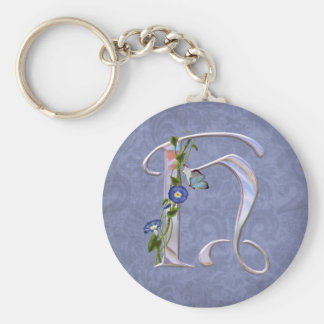 Precious Butterfly Initial H Basic Round Button Key Ring