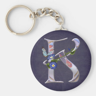 Precious Butterfly Initial K Basic Round Button Key Ring