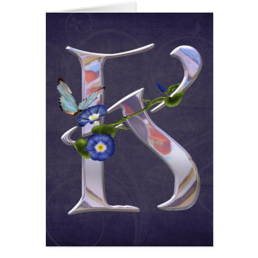 Precious Butterfly Initial K Greeting Cards