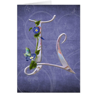 Precious Butterfly Initial L Greeting Card