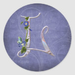 Precious Butterfly Initial L Round Sticker