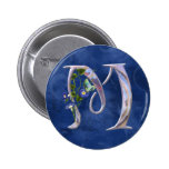 Precious Butterfly Initial M Pinback Buttons