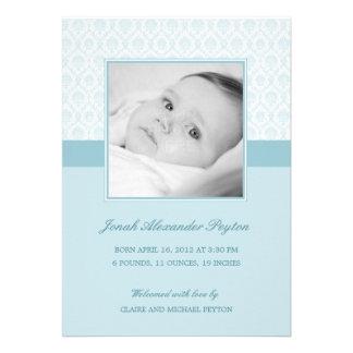 Precious Damask Baby Boy Birth Announcement Custom Invites