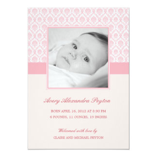 Precious Damask Baby Girl Birth Announcement Personalized Invites
