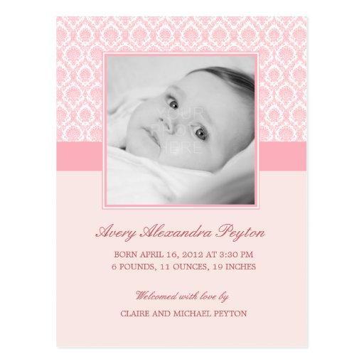 Precious Damask Baby Girl Birth Announcement Postcard