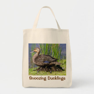 Precious Duckling Taking Nap Protected by Mother Grocery Tote Bag