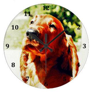Precious Irish Setter Puppy Large Clock