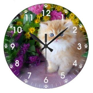 Precious Kittens Pink Purple Yellow Flowers Wall Clock