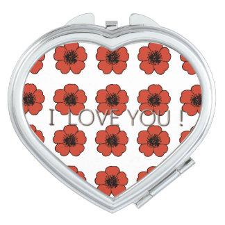 PRECIOUS-LOVE-SUMMER-RED-FLORAL-Heart Makeup Mirror