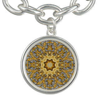 Precious Metal Vintage Pattern  Charm Bracelet