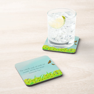 Precious Moments Butterflies Quote Drink Coaster