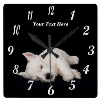 Precious Napping Westie Puppy Wall Clock