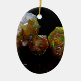 Precious opals ceramic oval decoration