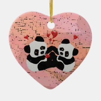 Precious Panda Hearts Ceramic Heart Decoration