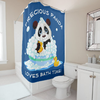 Precious Panda Loves Bath Time Shower Curtain