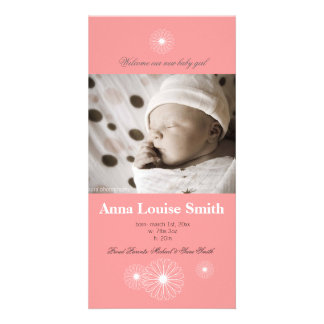 Precious Pink Baby Girl Birth Announcement Card Customised Photo Card