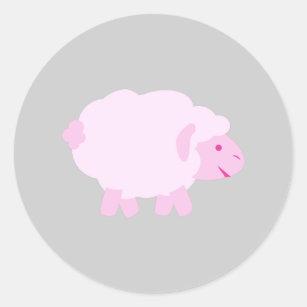 Precious Pink Little Lamb Classic Round Sticker