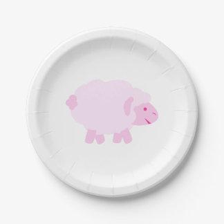 Precious Pink Little Lamb Paper Plate