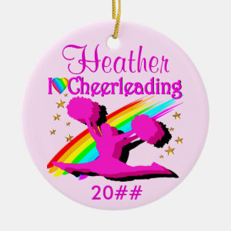 PRECIOUS PINK PERSONALIZED CHEERLEADER ORNAMENT