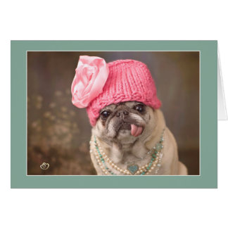 Precious Pug Card in Jewels and Pink Hat