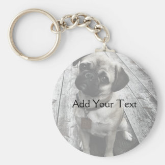 Precious Pug Puppy in Black and White Basic Round Button Key Ring