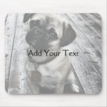 Precious Pug Puppy in Black and White Mouse Pads