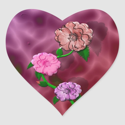Precious Rosebud Heart Sticker