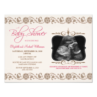 Precious Sonogram Baby Shower Invitation (pink)