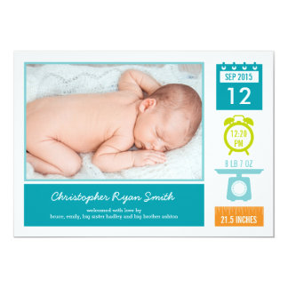 Precious Statistics Birth Announcement - Blue