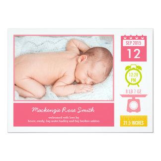 Precious Statistics Birth Announcement - Pink