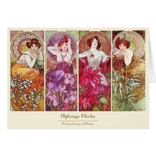 Precious Stones and Flowers, Alphonse Mucha Card