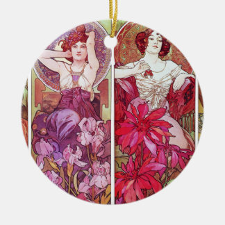 Precious Stones and Flowers, Alphonse Mucha Christmas Ornament