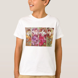 Precious Stones and Flowers, Alphonse Mucha T-Shirt