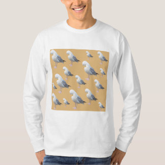 Preening Gull Pattern, Sketched Style on Tan. T-Shirt