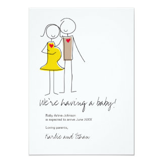 Pregnancy Announcement, Neutral Colors 13 Cm X 18 Cm Invitation Card