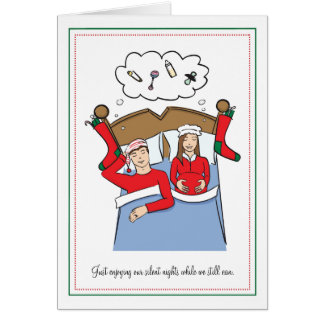 Pregnancy Christmas Cards - BRUNETTE Silent Nights