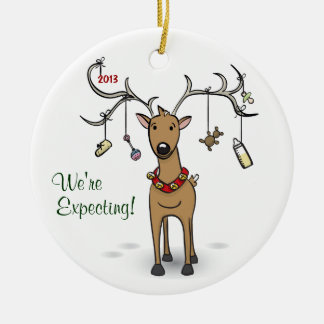 Pregnancy Christmas Ornament - Reindeer Expecting