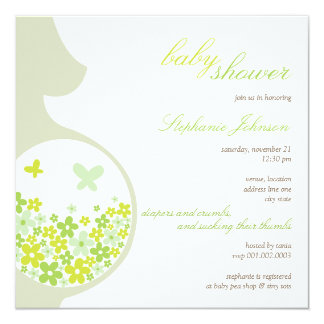 Pregnancy & Green Daisies Baby Shower Invite