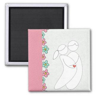 Pregnancy magnet(pink) square magnet