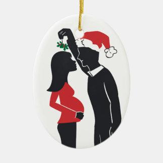 Pregnancy Ornament Mommy Kissing