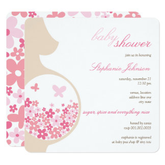 Pregnancy & Pink Daisies Girl Baby Shower Invite