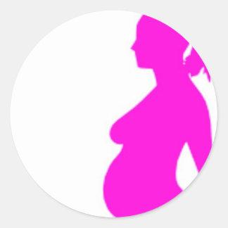 Pregnancy Silhouette Classic Round Sticker