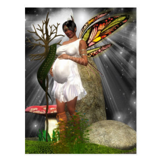 Pregnant African American Fairy Postcard