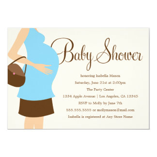 Pregnant Belly - Blue | Baby Shower Invite
