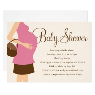 Pregnant Belly - Pink   Baby Shower Invite