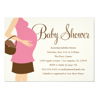 Pregnant Belly - Pink | Baby Shower Invite