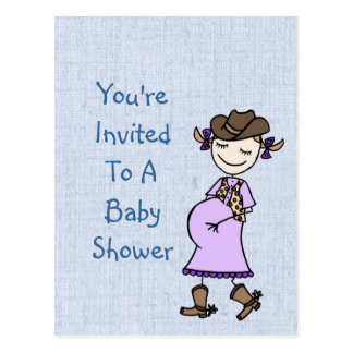 Pregnant Cowgirl Baby Shower Postcard