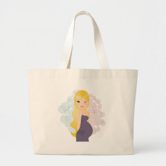 Pregnant girl or boy large tote bag